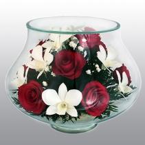 """розы и орхидеи в вазе """"тюльпан"""" LLM"""