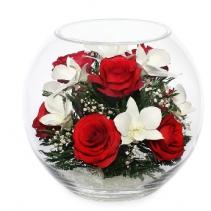 Композиция из  роз  и орхидей BLM2