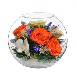 Микс из красных роз и белых орхидей BNM8
