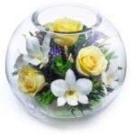 Микс из желтых роз и орхидей Свежесть, BNMc