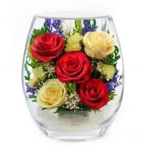 Разноцветные розы в вазе EHR5с-01