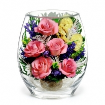 Пять розовых роз в вазе EHRP-02
