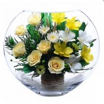 кремовые розы в крупной вазе ELM-02