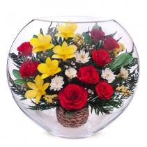 микс из роз,орхидей и хризантем в крупной вазе ELM-05