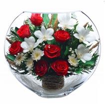 красные розы и светлые орхидеи в крупной вазе ELM-11