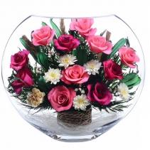 разноцветие из роз в крупной вазе ELR5c-01