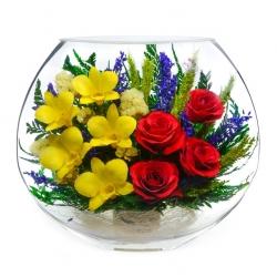:Желтые орхидеи и алые розы в одном букете EMM-07