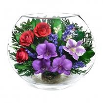 орхидеи и алые розы в одном букете EMM-09