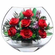 Семь красных роз EMR-01 c голубой веткой