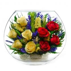 микс из разноцветных роз