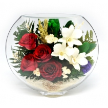 Красные розы и белые орхидейки ESM-05