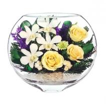 кремовые розы и белые орхидеи ESM-06