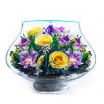 Сочная композиция из роз и орхидей LLM3