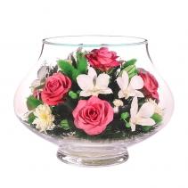 Нежный микс с розовыми розами и белыми орхидеями LLMp-n