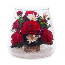 красные розы в колбе POMR