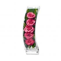 Композиция с розовыми розами, ваза Дуга SQCRp