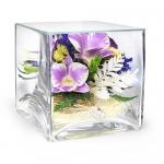 Композиция с орхидеями, ваза квадратная SQMO