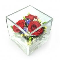 Композиция с орхидеями, ваза квадратная SQMR