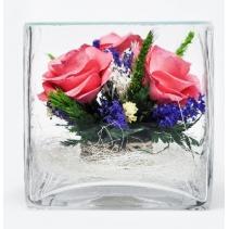Композиция с орхидеями, ваза квадратная SQMRp